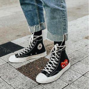 $180  黄金码补货手慢无:CDG Play X Converse 合作款帆布鞋