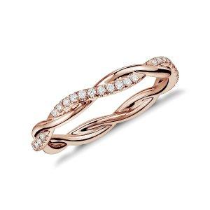 Blue Nile14k玫瑰金钻石戒指