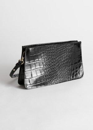 Leather Croc Baguette - Black Croc - Shoulderbags - & Other Stories