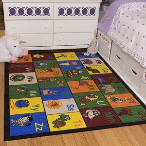 OttomansonJenny Collection Children's Multi Color Educational Alphabet (Non-Slip) Kids Classroom Area Rugs, 8'2