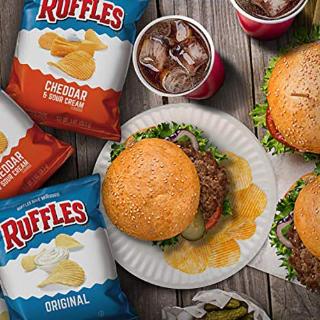 $9.75 一袋仅需$0.24白菜价:Ruffles 土豆薯片 三种口味 1oz 40袋 馋嘴零食