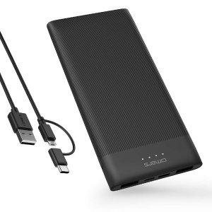 $13.99 包邮Omars 超薄便携10000mAh充电宝, 5V/2.4A USB 输出和双向5V/3A USB C 接口
