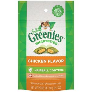 白菜价:Greenies 鸡肉味去毛球猫零食 2.1oz