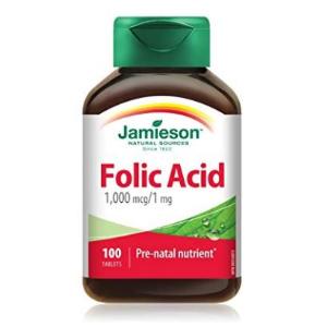 $3.51(原价$7.85) 孕期妈妈必备~Jamieson 叶酸片维生素片 1,000 mcg/1 mg 100片装