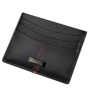 $59S.T. DUPONT Glossy Black Defi Perforated Leather Credit Cards Wallet