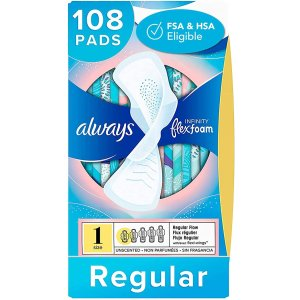 alwaysInfinity Feminine Pads for Women, Size 1, 108 Count, Regular Absorbency, with Wings, Unscented (36 Count, Pack of 3-108 Count Total)