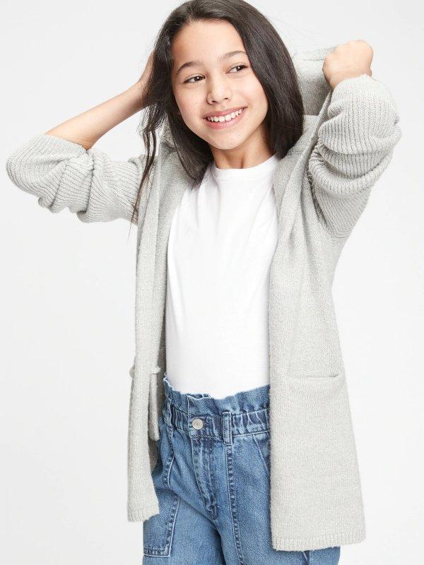 儿童、大童连帽编织外套
