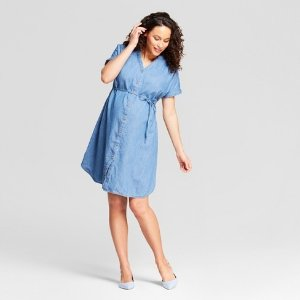 e8955b9e0ebba Maternity Denim Dolman Shirt Dress - Isabel Maternity by Ingrid & Isabel™  Medium Wash