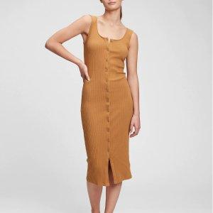 Gap91%棉,4色可选罗纹无袖连衣裙