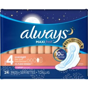 Always Maxi Size 4 Overnight Pads with Wings, Clean Scent, 24 Count