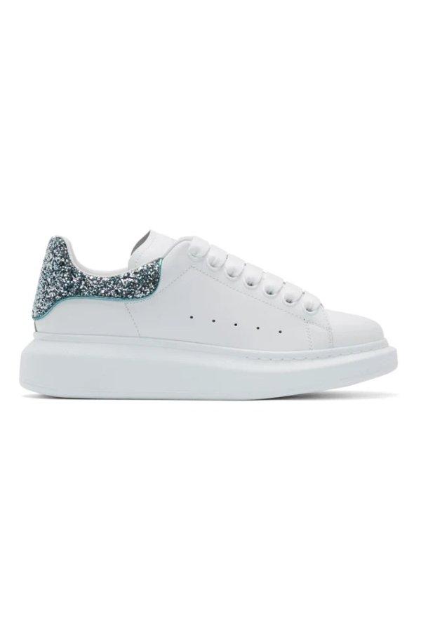 冰蓝色亮片尾小白鞋