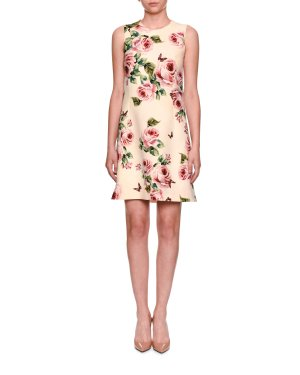 Dolce & Gabbana Sleeveless A-Line Rose-Print Wool Dress | Neiman Marcus