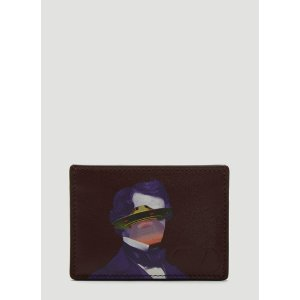 ValentinoX Undercover Leather Card Holder in Purple