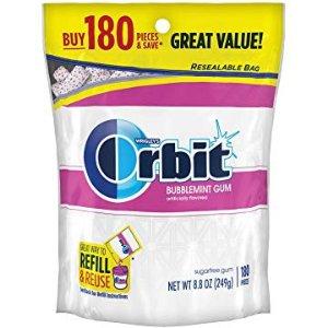 $6.57ORBIT Bubblemint Sugarfree Gum, 8.5-Ounce Resealable Bag, 180 Pieces