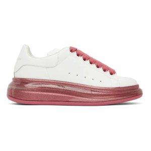 Alexander McQueen41粉色透明底小白鞋