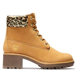 Timberland粗跟豹纹大黄靴