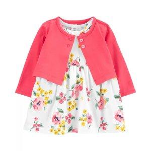 Carter's2-Piece Floral Bodysuit Dress & Cardigan Set