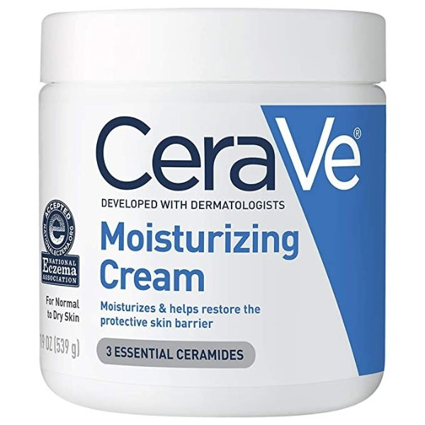 CeraVe保湿霜| 干性皮肤的面部和面部保湿霜| 玻尿酸,烟酰胺和神经酰胺润肤霜| 19盎司