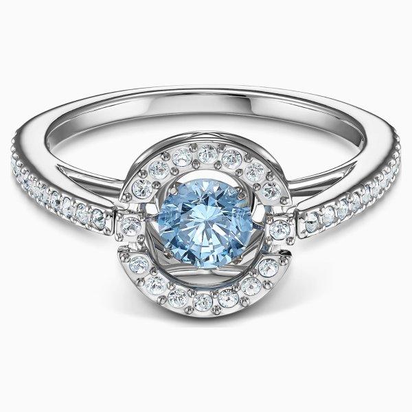 跳动的心水晶戒指 蓝色