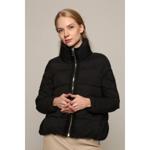 Black High Collar Puffer Coat