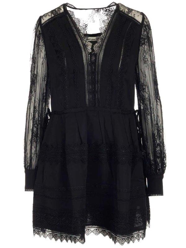 蕾丝垂直感小黑裙