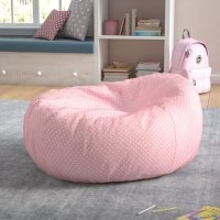 粉色波点懒人豆豆沙发