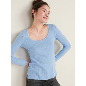 Old NavySlim-Fit Scoop-Neck Pointelle Tee for Women