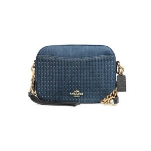 CoachStudded Denim Camera Bag