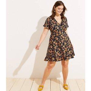 e819c870beb58 LOFT Plus Bouquet Wrap Flutter Flare Dress