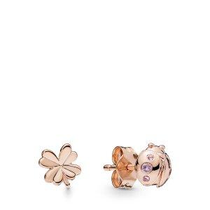 PandoraFour-Leaf Clover & Ladybird Earrings