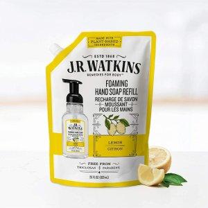 $5.59(原价$6.99)J.R. Watkins 美国纯天然有机洗护 柠檬香型洗手液替换装 828ml