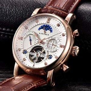 $44.25 (原价$189)KINYUED 男士月相商务休闲手表,多表盘