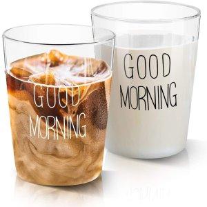 Growom 早上好 元气满满玻璃杯2个