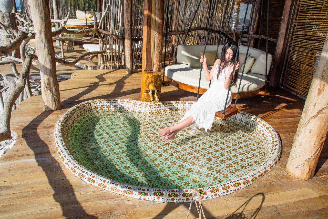 图卢姆海边悬崖上的网红树屋酒店Azulik