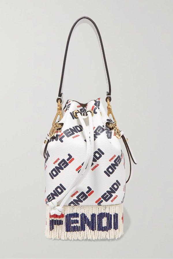 Logo流苏串珠水桶包