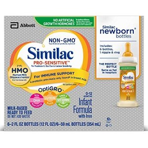 Similac40% off +5% offPro-Sensitive Non-GMO with 2'-FL HMO Infant Formula with Iron, Ready-to-Feed, 2 fl oz Bottle (48 Count)