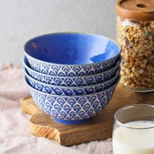 ZONESUM Porcelain Cereal Bowls, Set of 4