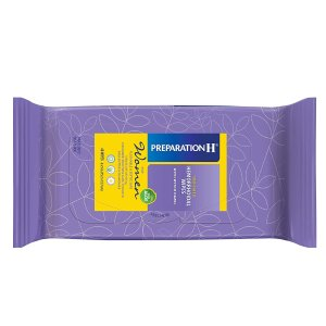Preparation H Women's Flushable Medicated Hemorrhoid Wipes for Burning and Itching Relief, White, 48 Count