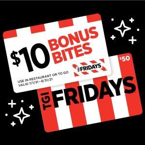 买$50礼卡额外送$10TGI Fridays 礼卡买赠限时活动