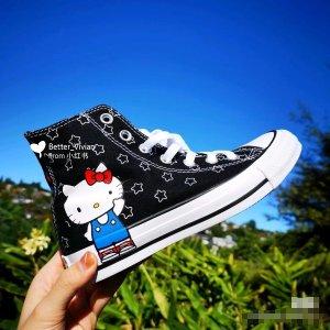 Converse37-41码Hello Kitty高帮帆布鞋