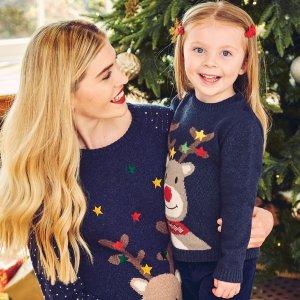 JoJo Maman BebeKids' Navy Reindeer Sweater