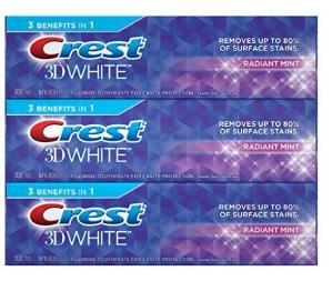 $6.54Crest 3D佳洁士美白薄荷牙膏100ml  3支装