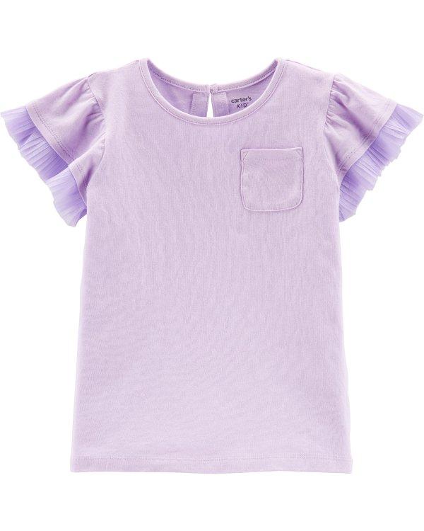 女童花边袖T恤