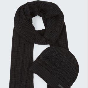 Strellson黑色围巾帽子套装
