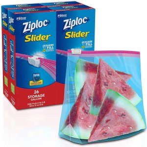 $8.3Ziploc 滑动封口技术食物保鲜袋 大号加仑装 共104个装