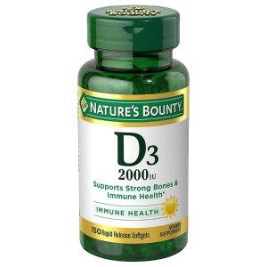 Nature's Bounty买1送1 + 立减$1维生素 D3 2000 IU 胶囊 150粒
