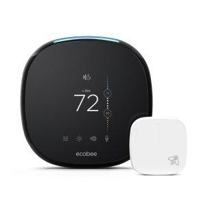 $199.99 送Echo Dot 3新款Ecobee4 智能无线恒温器 单区域感温器套装