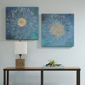 Urban HabitatIridescent Bloom Gel Coated Canvas with Gold Foil (2pcs/set) By Urban Habitat - Designer Living
