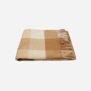 格子羊绒毛毯