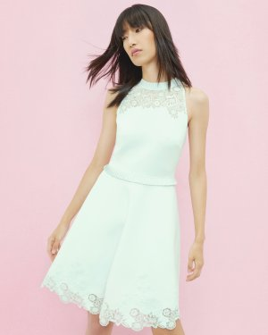 Embroidered ruffle skater dress - Light Green | Dresses | Ted Baker